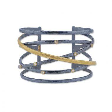 Lika Behar 24k Two Tone Gold and Sterling Silver Diamond Cuff Bracelet